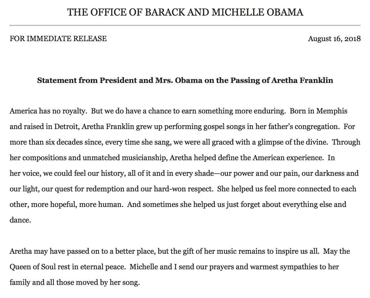 Barack Michelle Obama Respond To The Death Of Divine Aretha